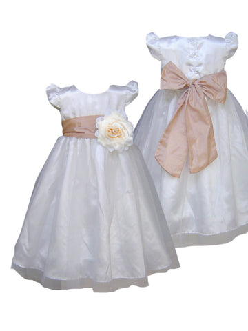 Champagne sash ivory or white flower girl dress