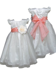 Coral peach sash ivory or white flower girl dress
