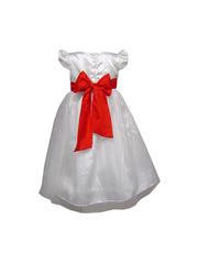 Red sash ivory or white flower girl dress