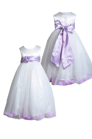 Lilac sash petals ivory or white flower girl dress