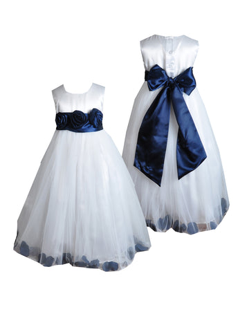 Navy blue sash petals ivory or white flower girl dress