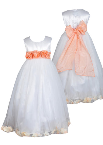 Peach sash petals ivory or white flower girl dress