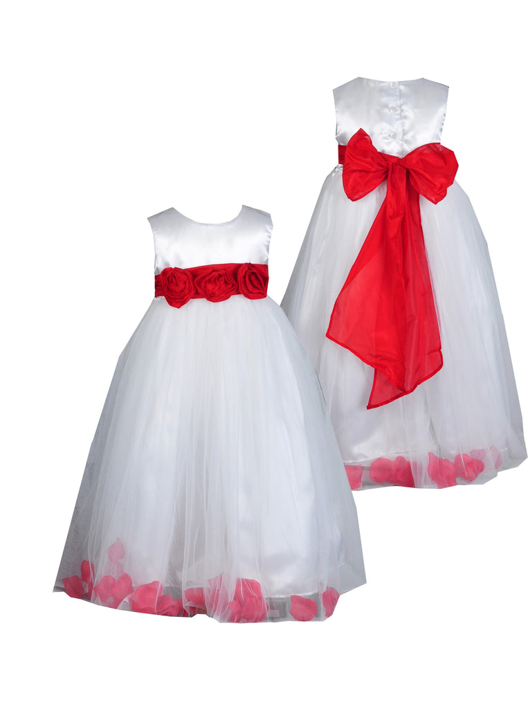 Red sash with 3 flowers petals ivory or white flower girl dress