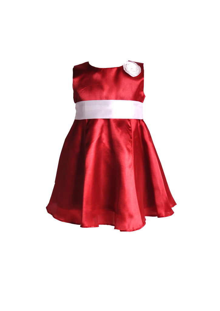 Red satin dress with flower