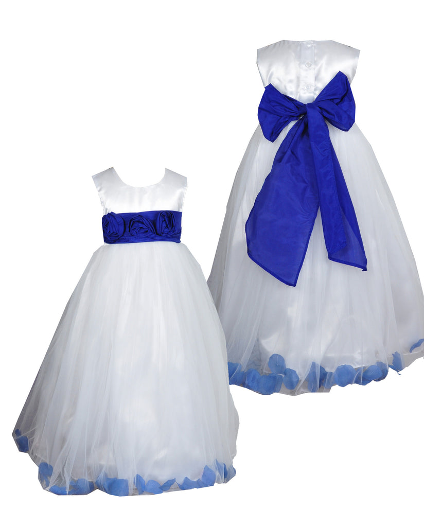Royal blue sash petals ivory or white flower girl dress