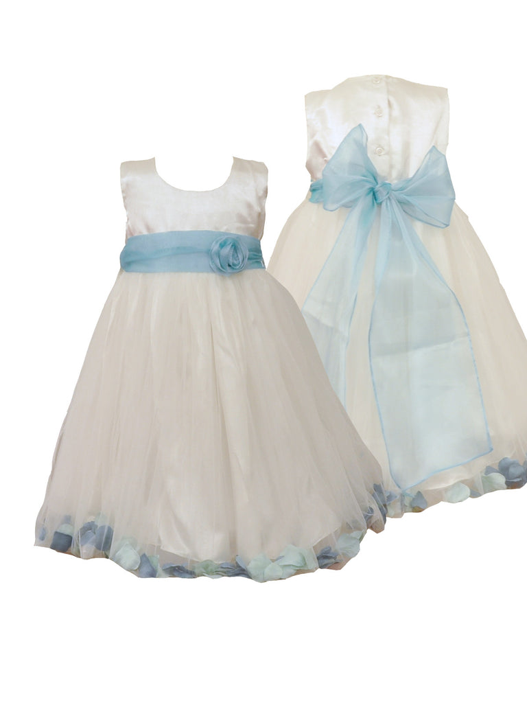 turquoise & teal mix petal ivory or white flower girl dress