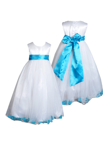 Tuquoise sash petals ivory or white sleeveless flower girl dress
