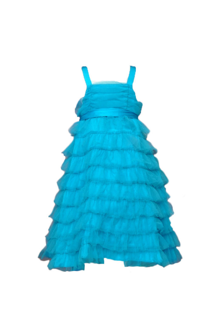 Turquoise tiered flower girl dress