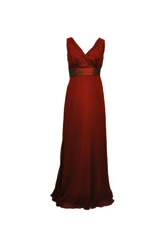 Burgundy V Neckline Georgette Bridesmaid Dress
