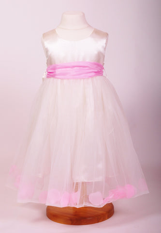 Pink petals ivory flower girl dress