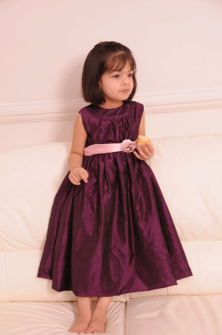 Plum Purple Bubble Hemline Flower Girl Dress With Pink Sash 6Y