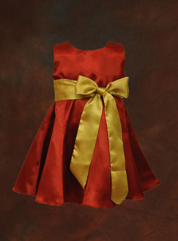 Red satin dress with sash 6Y