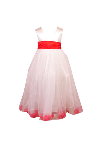 Red Petals Ivory flower girl dress