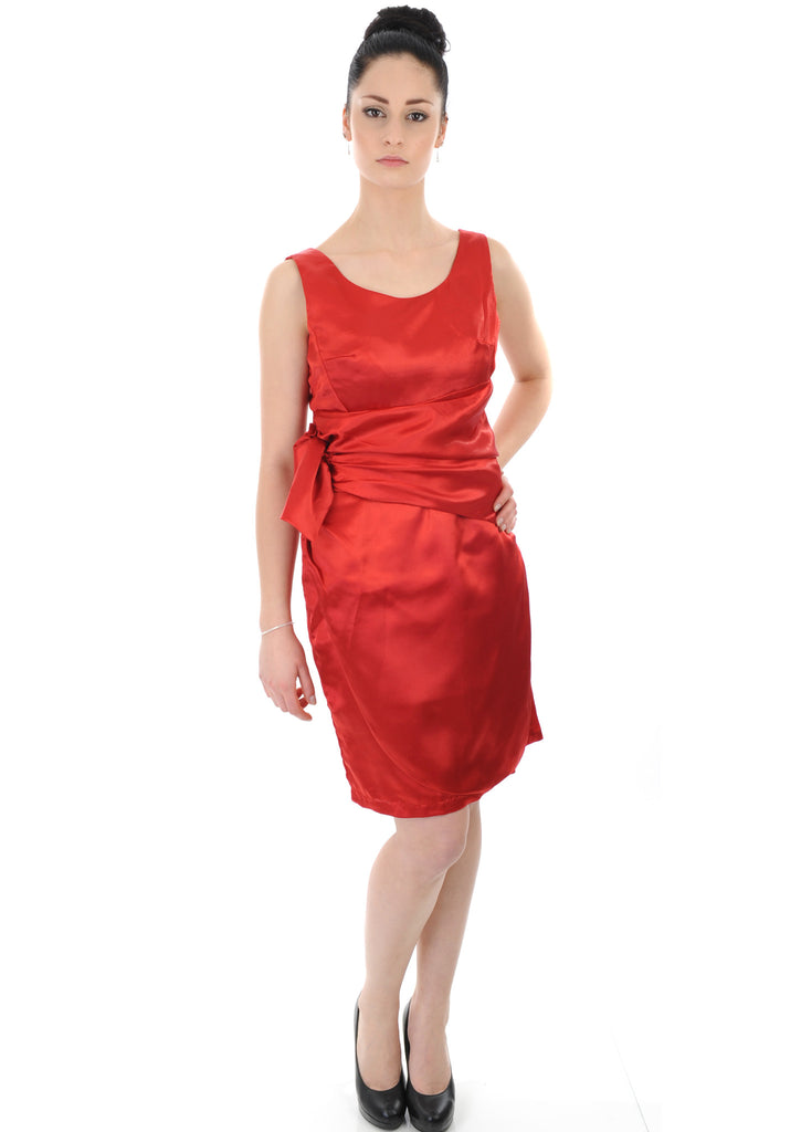 Red Satin Ruched Waist Bridesmaid Dress