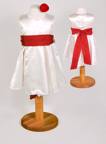 Ivory or white plain satin flower girl dress