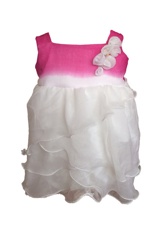 White and Fuchsia Pink Baby and Toddler Dress