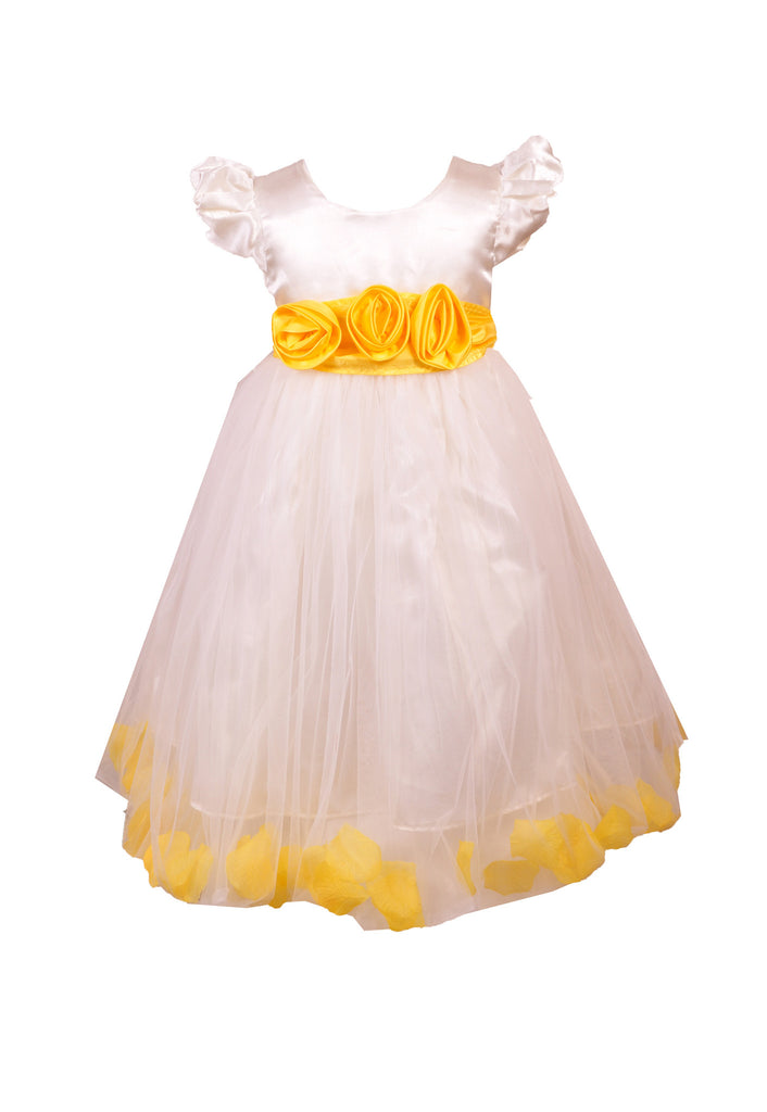 Yellow Petals Ivory flower girl dress