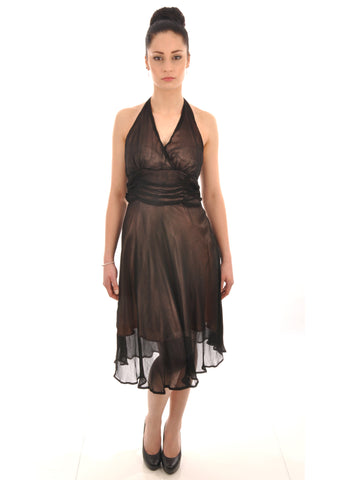 Black georgette halter neck bridesmaid dress