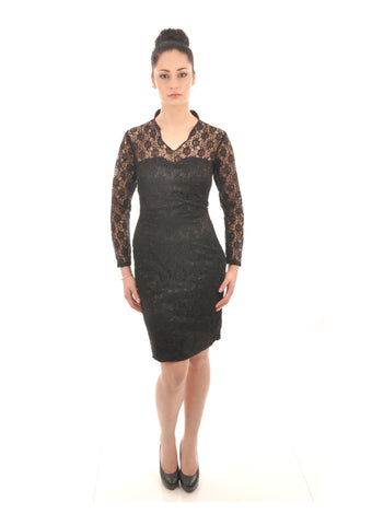 Black Floral Lace Knee Length Bridesmaid Dress