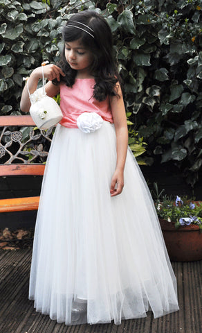 Floor length tulle skirt coral peach flower girl dress
