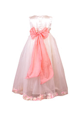 Coral Peach Petals Ivory flower girl dress