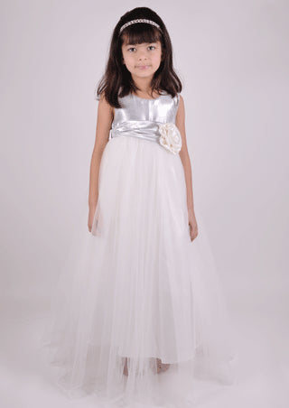 Floor length tulle skirt silver flower girl junior bridesmaid dress 5Y