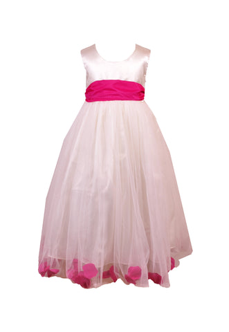 Fuchsia Hot Pink Petals Ivory flower girl dress
