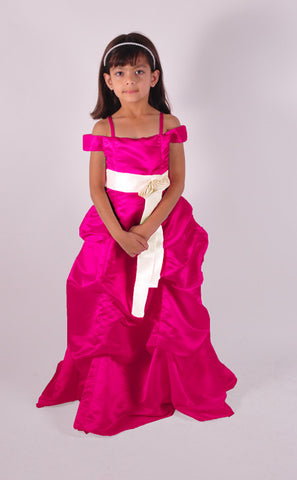Fuchsia hot pink pinched gown floor length junior bridesmaid dress