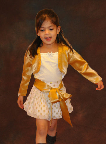 HALF PRICE Gold polka dot Skirt flower girl dress 4Y