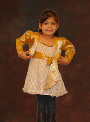 Golden shrug flower girl dress