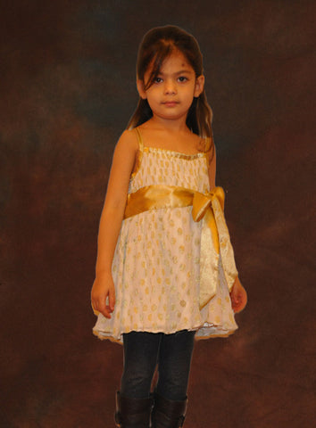 HALF PRICE Gold polka dot Top flower girl dress 7Y