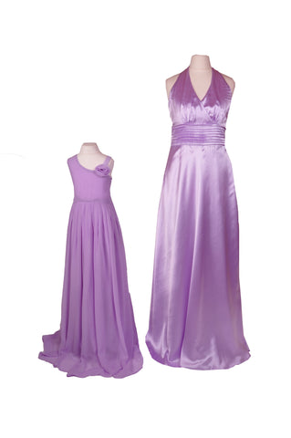 Halter Neck Floor Length Satin Lilac Bridesmaid Dress