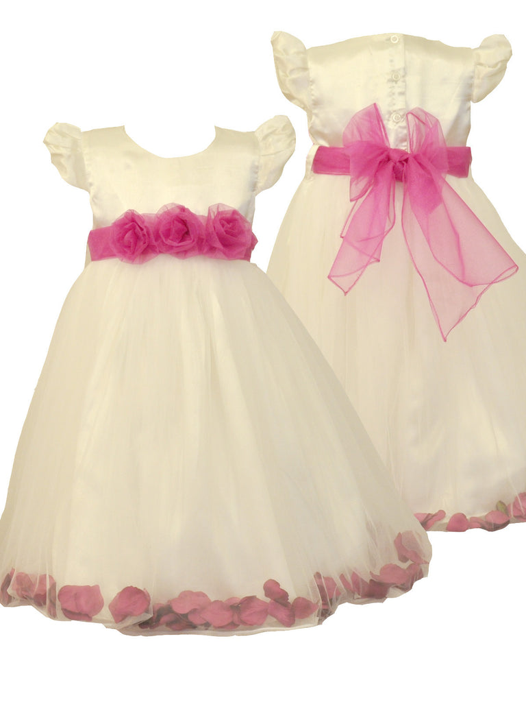 Fuchsia Hot Pink Petals Ivory or White flower girl dress