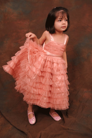 Dusty peach tiered flower girl dress 5Y