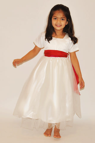 Straight sleeves white flower girl dress
