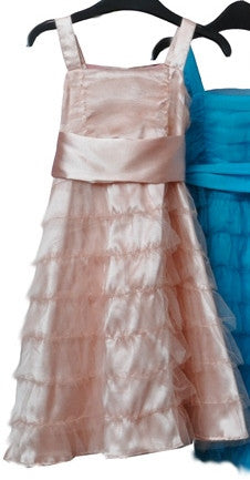 Dusty peach tiered flower girl dress 2Y