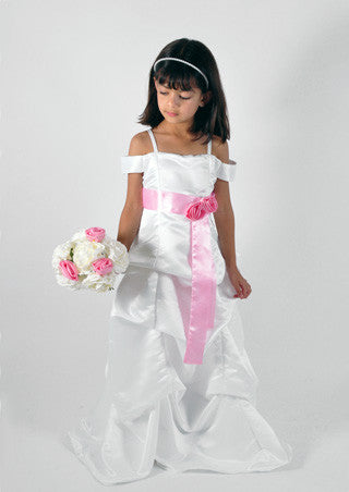 White pinched gown floor length junior bridesmaid dress