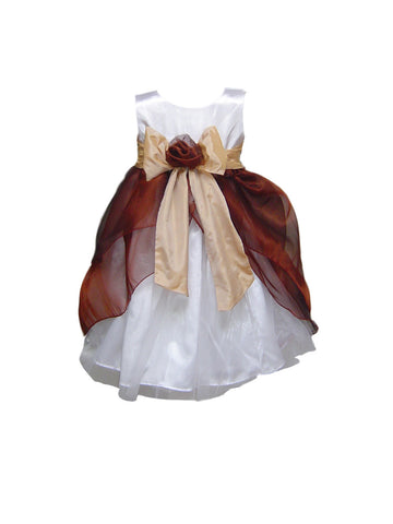 Chocolate Layered White or Ivory flower girl dress with Champagne Sash