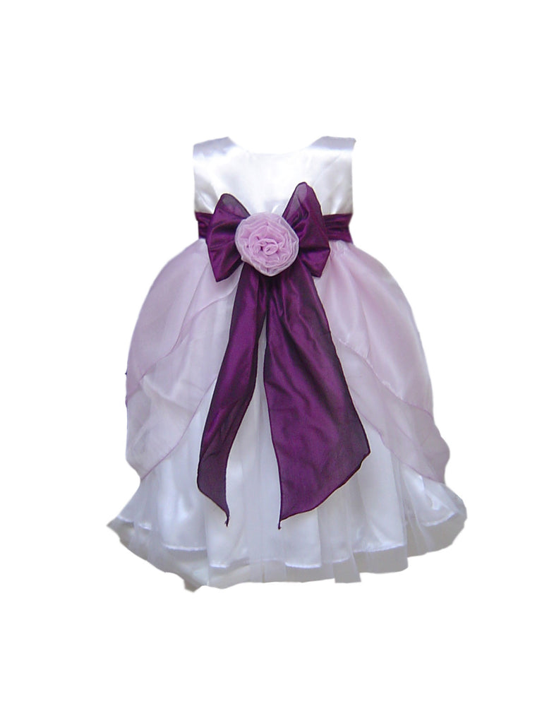 Layered Lilac and White or Ivory flower girl dress