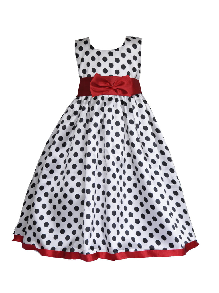 White polka red sash with bow sleeveless flower girl dress