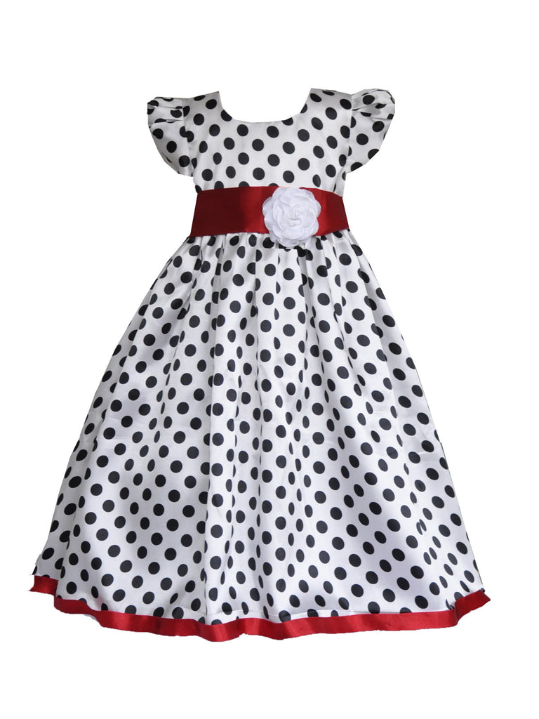 White and black polka red rose sash with short sleeves