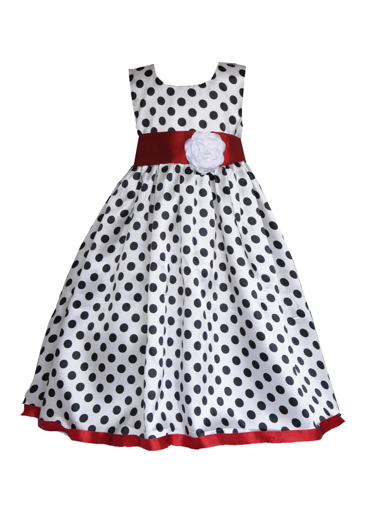 White polka red sash with rose sleeveless flower girl dress