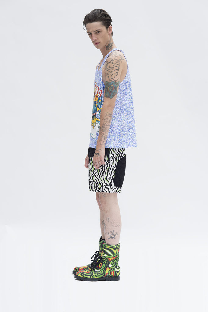 Blue Scribble Graphic Tank Top