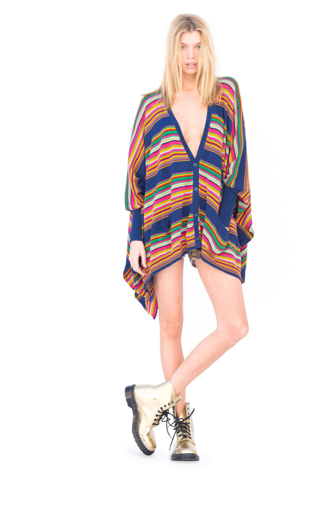 Stripe Knit Poncho Cardigan