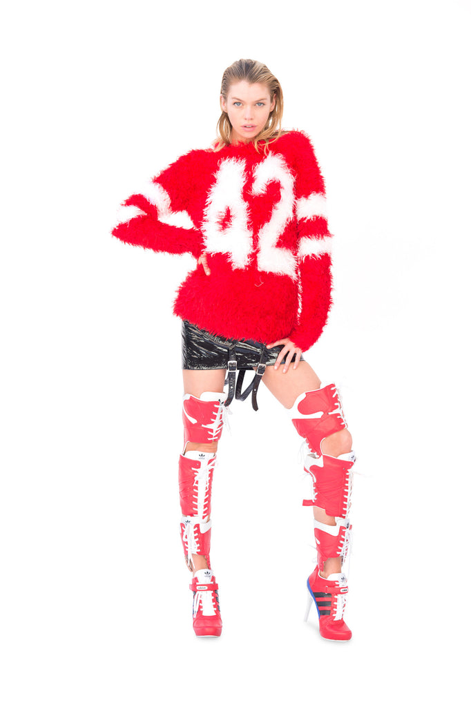 Red Fuzzy Knit Sweater