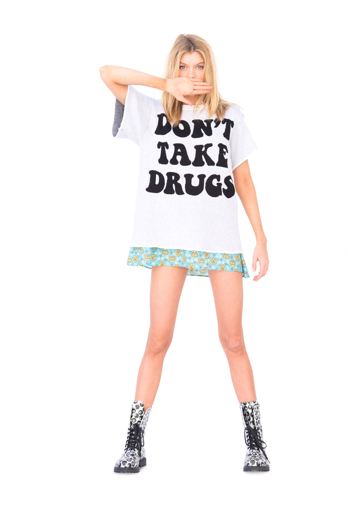 'Don't Take Drugs..' Knit T-shirt White