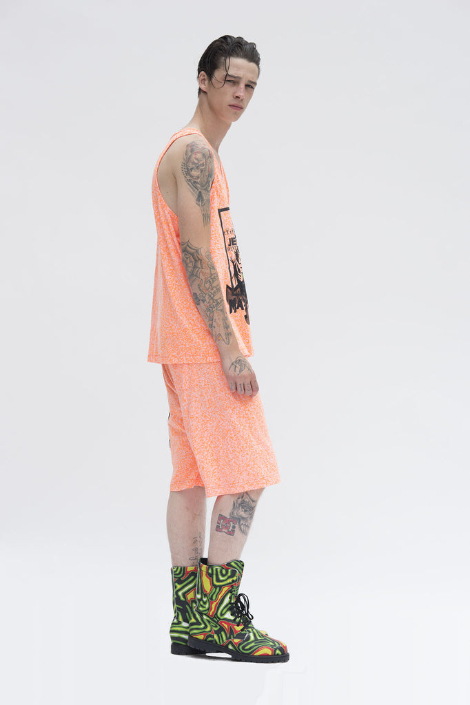 Orange Scribble Graphic Shorts