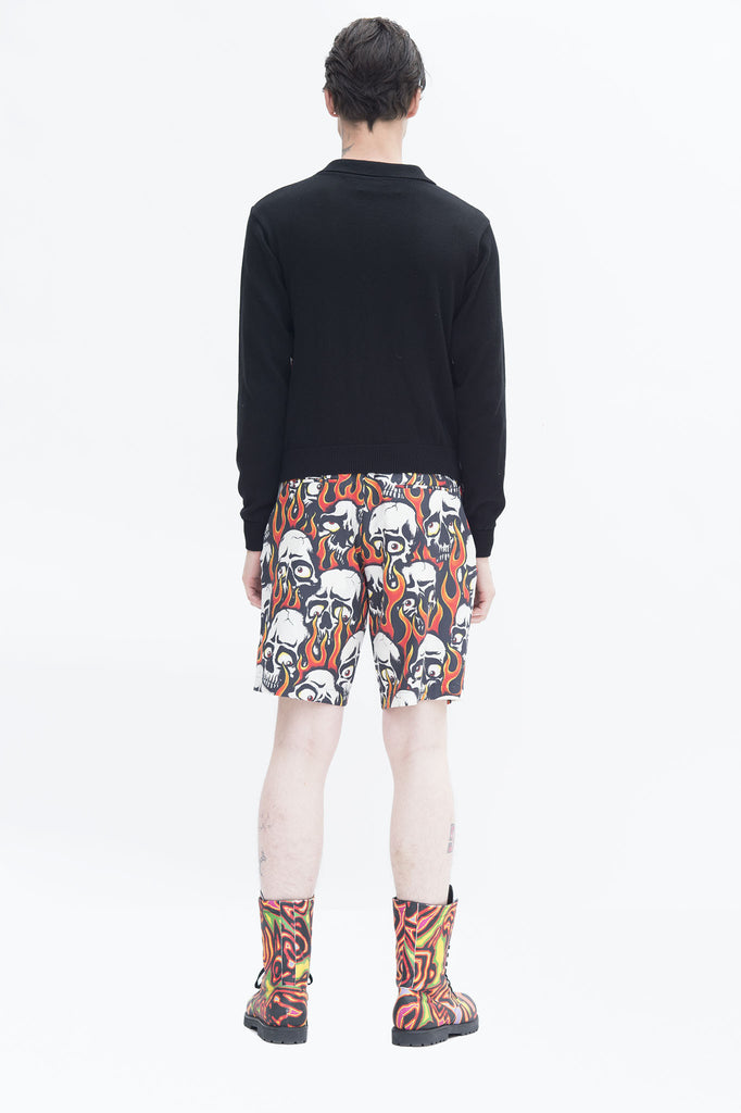 Skull Flame Silk Front Cardigan