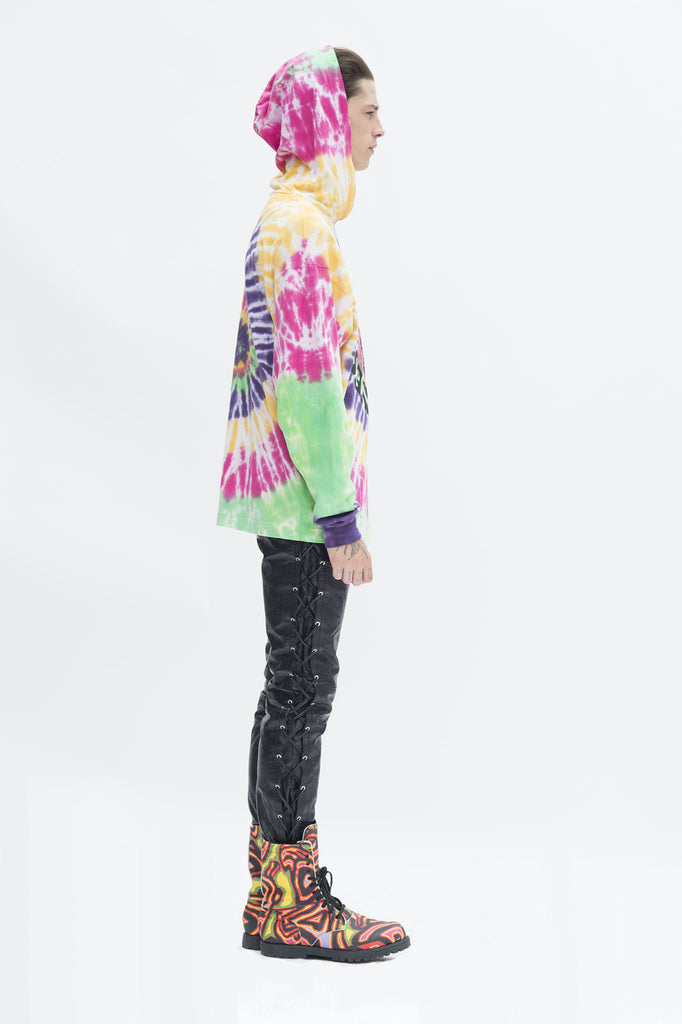Tie Dye Hooded Long Sleeve T-shirt