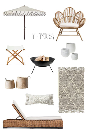 All the things: Outdoor Neutrals greige design black and white umbrella folding stool woven chaise lounge
